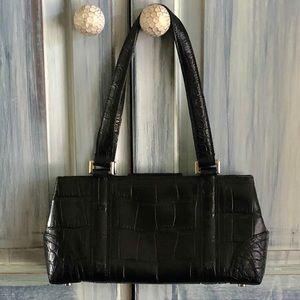 Ellen Tracy Black Leather Croc Embossed Bag